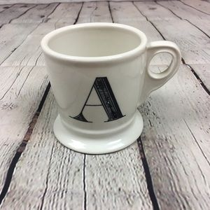 Anthropologie A Initial Monogram White Mug